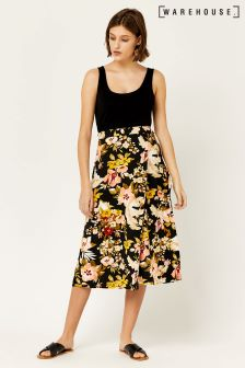 Warehouse Black Hibiscus Wrap Skirt