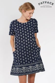 FatFace Navy Simone Woodblock Paisley Dress