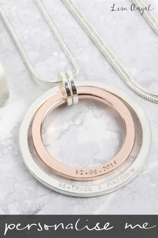 Personalised Long Double Circle Necklace By Lisa Angel