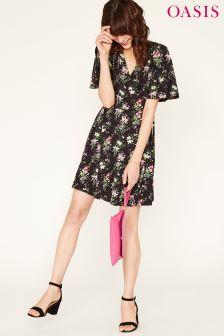 Oasis Black Kelsey Angel Sleeve Dress