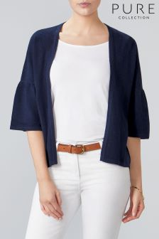 Pure Collection Blue Cashmere Relaxed Shrug