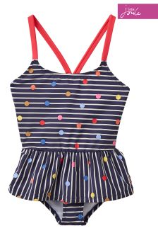 Joules Navy Stripe Multi Spot Terri Two Piece Swim Suit