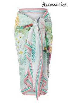 Accessorize Pink Bird Of Paradise Printed Sarong