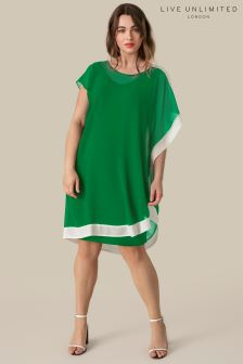 Live Unlimited Green Chiffon Cape Dress