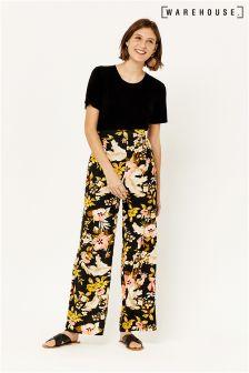 Warehouse Black Hibiscus Wide Leg Trouser