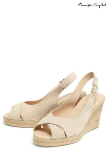 Phase Eight Natural Lana Peep Toe Espadrille Wedge