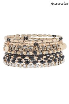 Accessorize Black 10X Jet Stretch Bracelet Pack