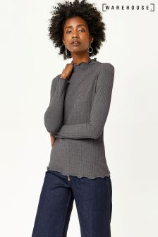 Warehouse Grey Marl Plain Rib Long Sleeve Top