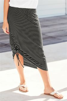Ruched Tube Stripe Skirt