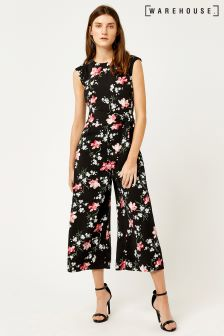 Warehouse Black Constantine Floral Wide Leg Jumpsuit