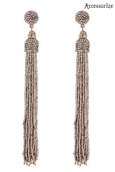 Accessorize Metallic Beaded Tassel Statement Earring