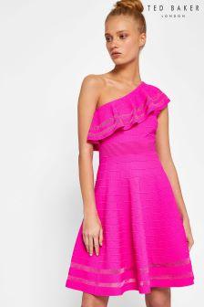 Ted Baker Pink Streena One Shoulder Knitted Dress
