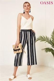 Oasis Black Stripe Crop Wide Leg Trouser