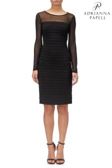 Adrianna Papell Black Jersey Pintucked Dress