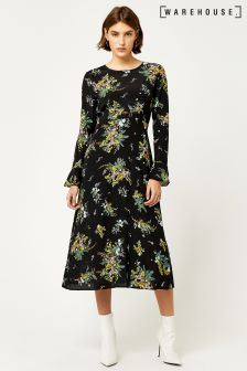 Warehouse Black Spaced Sprig Midi Dress