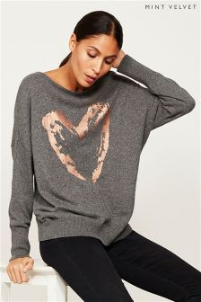 Mint Velvet Grey Granite Heart Foil Print Knit Jumper