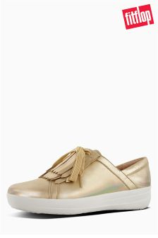 FitFlop™ Gold Iridescent F-Sporty II™ Lace-Up Fringe Sneaker