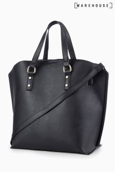 Warehouse Black Hardwear Curve Top Shopper