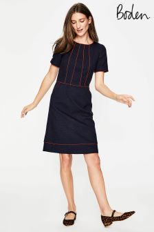 Boden Navy Jane Textured Dress