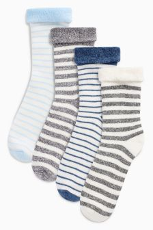 Stripe Terry Turn Over Socks Four Pack (Younger Boys)