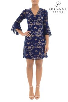 Adrianna Papell Blue Carol Lace Raffle Sleeve Dress
