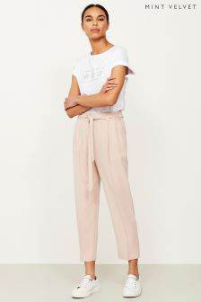 Mint Velvet Pink Belted Tapered Trouser