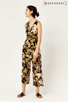 Warehouse Black Hibiscus Tie Side Jumpsuit