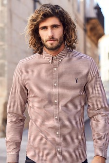 Mens check shirts plaid shirts next official site for Mens green gingham dress shirt