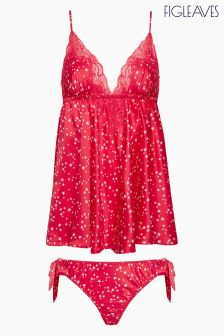 Figleaves Red Satin Star Print Babydoll