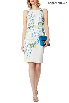Karen Millen White Wisteria Print On Signature Stretch Dress