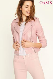 Oasis Pink Faux Leather Lucy Biker Jacket