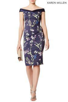 Karen Millen Blue Botanical Trailing Floral Print On Signature Dress