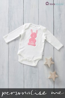 Personalised Printed Named Bunny Design Long Sleeved Bodysuit By Loveabode