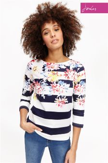 Joules Navy Stripe Whitstable Harbour Print Jersey Top