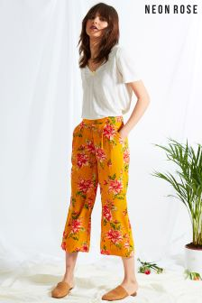 Neon Rose Yellow Gardenia Floral Wide Leg Trouser