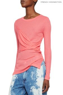 French Connection Pink Twisted Jersey Top