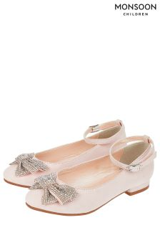 Monsoon Pink Kylie Diamanté Bow Flat Shoe