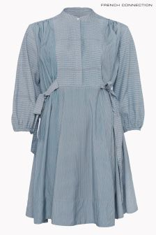French Connection Blue Malolo Long Sleeve Flared Dress