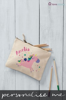 Personalised Printed Named Unicorn Design Accessories Bag By Loveabode