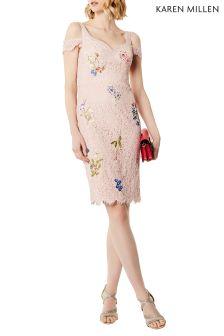 Karen Millen Pink Floral Embroidery Lace Dress