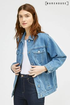 Warehouse Stone Wash Long Denim Jacket