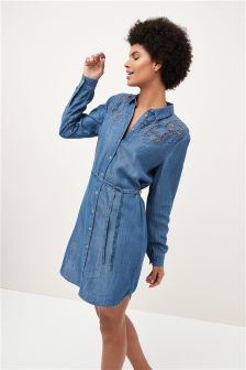 Floral Cutwork Shirt Dress