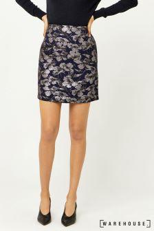 Warehouse Navy Floral Jacquard Pelmet Skirt