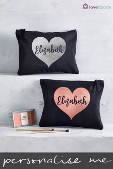 Personalised Large Heart Make Up Bag
