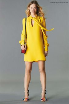 French Connection Yellow Arimi Crepe Tie Neck Dress