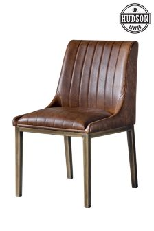 Set Of 2 Hudson Living Nero Faux Leather Dining Chairs