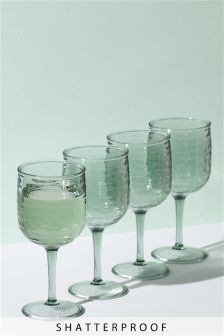 Set of 4 Recycled Effect Wine Glasses