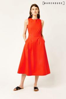 Warehouse Orange Cotton Tie Back Midi Dress