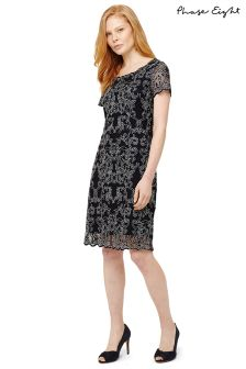 Phase Eight Navy/Ivory Tatiana Embroiderd Dress