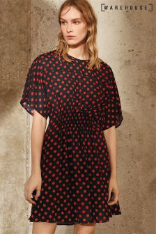 Warehouse Black Red Spot T-Shirt Dress